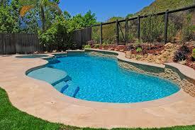 deck railing pool mediterranean with backyard backyard