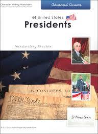 44 united states presidents character writing worksheets d u0027nealian