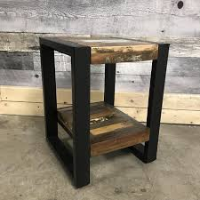 small wood end table small condo reclaimed wood industrial end table rustic furniture