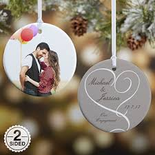 personalized engagement photo ornaments 2 sided