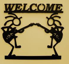 kokopelli welcome sign southwest metal art guitarwall