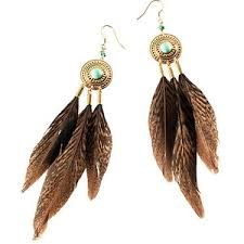 hm earrings h m boho feather earrings in turquoise and brown polyvore