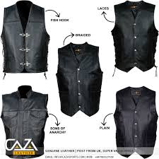leather waistcoat biker vests mens clothing clothing shoes u0026 accessories