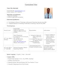 Mechanical Resume Samples For Freshers Example Of Cv Format For Freshers