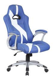 blue leather swivel chair blue u0026 white stripe racing office chair furniturebox