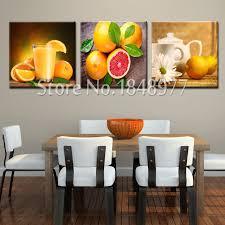 peinture orange cuisine 3 panneau moderne fruits peinture à l huile mur photos pour cuisine