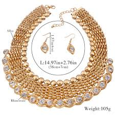 gold plated fashion necklace images Gold plated fashion jewellery set for women 2017 african beads jpg