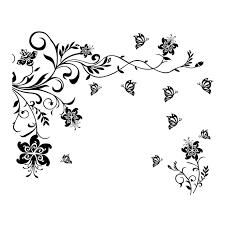 2 part flower butterfly tendril design svg by vectordesign on zibbet