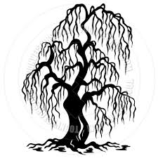 cartoon willow tree silhouette by clairev toon vectors eps 41272