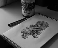 cartoon colorful octopus with ice cream on carousel tattoo design