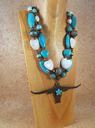 turquoise colored necklace images Western cowgirl chunky necklace set white and jpg