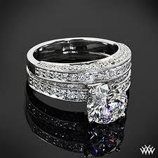 bague mariage or blanc or blanc 18 ct avec platinum trois side pave bague de