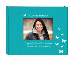 personalized funeral guest book teal colored linen cover funeral in loving memory guest book