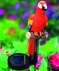 Bird Solar Lights by Jungle Birds Solar Light Red Parrot Gardening Garden Ornaments