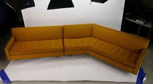 large two piece button tufted sectional sofa by harvey probber for