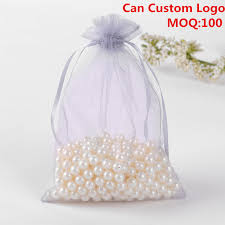 candy bags 13x18cm grey organza jewelry gift bags small drawstring pouches