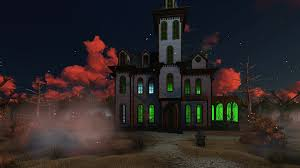Halloween House Lights Video by Supernatural Scenery With Fantastic Sunset Clouds Above Spooky
