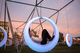 interactive art piece u0027swing time u0027 lights up the lawn on d the