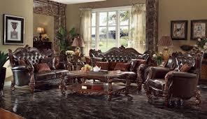 acme versailles 2 piece living room set in d brown pu u0026 cherry oak