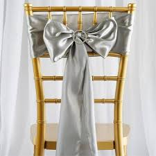 Chair Sashes For Weddings 5 Pcs Silver Satin Chair Sashes Tie Bows Catering Wedding Party