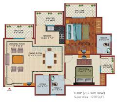 2 bhk 1290 sq ft apartment for sale in svp gulmohur garden at rs