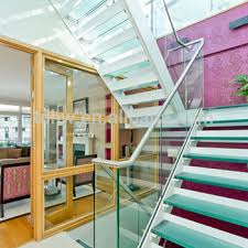 Folding Stairs Design U Shape Steel Folding Stairs With Laminated Glass Steps And Double