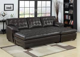 furniture black leather sectional sofa with chaise and tufted for