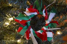 ribbon wreath ornament typically simple