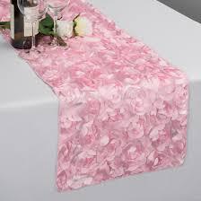 pink rosette table runner 14 x 108 in rosette satin table runner pink devorah s kiddush