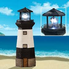 pinty solar powered lighthouse rotating led garden light with 1 aa