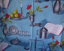 Retro Kitchen Curtains 1950s by Fabric Bake Julia Rothman Blue Kitchen Tools Quilting Cotton