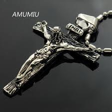 stainless steel necklace pendant images Amumiu inri jesus piece trendy punk vintage cross gift men 316l jpg