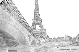 drawn eiffel tower paris bridge pencil and in color drawn eiffel