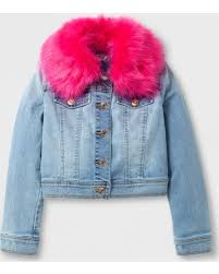 Light Jean Jacket Amazing Deal On Girls U0027 Jean Jacket With Faux Fur Collar Cat