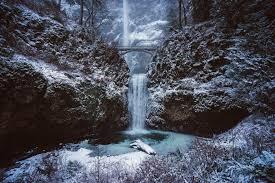 Oregon landscapes images Multnomah falls winter landscape in oregon free photos landscape jpg