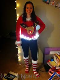 Ugly Christmas Sweater With Lights Two Early Birds Ugly Christmas Sweater