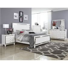 Mirrored Bed Alonza White Bedroom Set With Bling By Homelegance Furniture