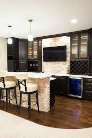 Simple Basement Bar Ideas Basement Bar With Wood Flooring And Stone Wall Contemporary Home