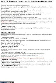 bmw oil service u0026 inspection i u0026 ii check list