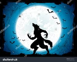 dark halloween background dark halloween background moon on blue stock vector 472861831