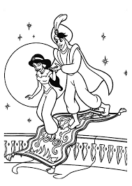 jasmine coloring pages aladdin flying carpet coloringstar