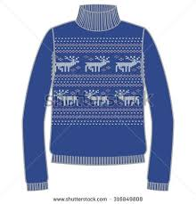 Warm Blue Color Winter Warm Sweater Handmade Svitshot Jumper Stock Vector