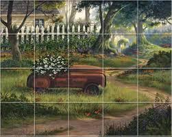 mural tiles for kitchen backsplash kitchen mural tiles farm country rustic s garden
