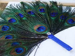 peacock feather fan custom quantity 35 peacock feather fan program favors by ivyndell