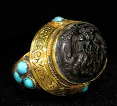 Ottoman Seal Ottoman Gold Ring Inlaid With Turquoise Featuring A Seal Os 128