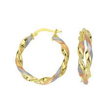 tight hoop earrings 10kt tri color gold tight twist hoop earrings colors products