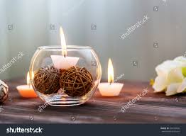 candle glass vase decoration various interesting stock photo