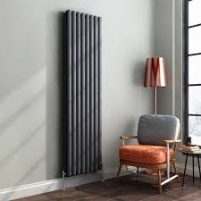 1800 x 480 mm vertical column radiator anthracite oval double