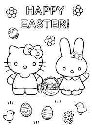 kitty easter bunny coloring free printable