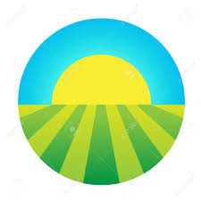 Flag Yellow Sun Vector Sun Rising Under The Field Icon Eco Symbol Logo Royalty